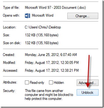"""Problems opening """"Blocked"""" files in Word/Office 2013 